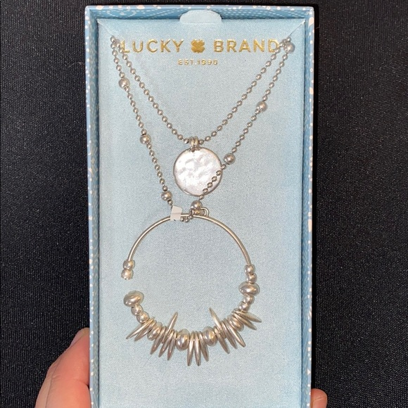 Gold Lucky Brand Jewelry Lapis Stacked Pendant Necklace